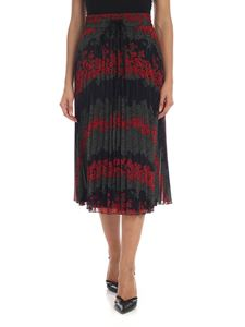 Red Valentino - Floral printed pleated skirt in black