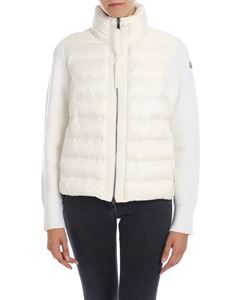 Moncler - Cardigan in cream color with down insert