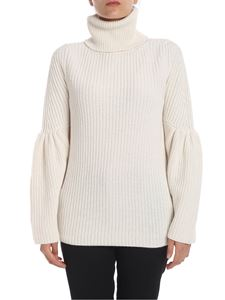 be Blumarine - Tricot turtleneck in cream color with gathered detail