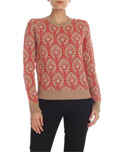 be Blumarine - Dark beige crew-neck pullover with intarsia