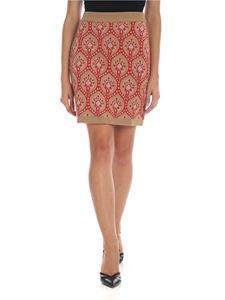 be Blumarine - Dark beige knitted miniskirt with intarsia