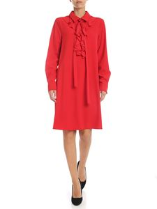 be Blumarine - Oversize dress in red crepe with ruffles