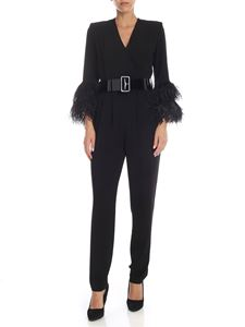 Parosh - Jumpsuit in black cady with feather details