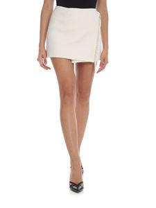 Parosh - Fringed miniskirt in cream color wool