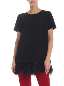 Parosh - Oversize blouse in black cady with feather details