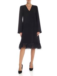 Parosh - Over-fit dress in black cady with feather details