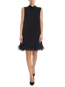 Parosh - Sleeveless dress in black cady with feather details