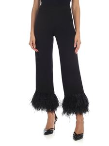 Parosh - Black cady trousers with feather details
