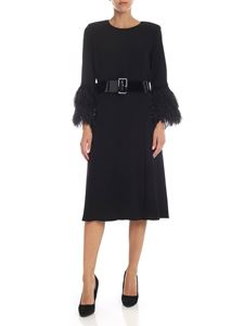 Parosh - Dress in black cady with feather details