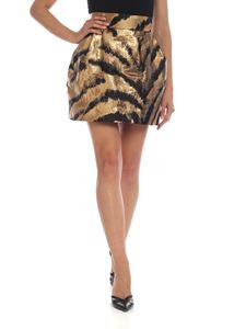 Parosh - Tiger printed jacquard miniskirt in black and gold