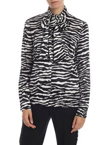 Parosh - Zebra printed shirt in black and white silk