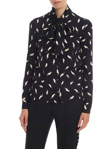 Parosh - Black silk shirt with lightning print