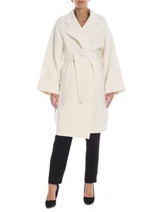 Parosh - Wool coat in cream color with belt