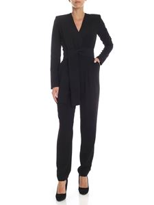 Parosh - Black cady jumpsuit with crossover neckline