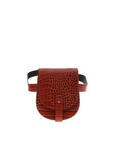 be Blumarine - Brown waist bag in reptile effect leather