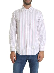 Thom Browne - White shirt with blue and red stripes