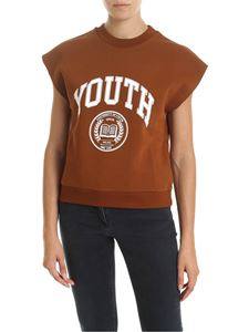 MSGM - Youth-printed t-shirt in leather color