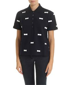 Thom Browne - Blue polo shirt with bows embroidery