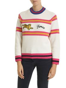Kenzo - Tiger Jumper pullover in white with striped detail