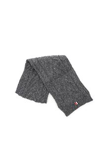 Thom Browne - Wool and mohair scarf in gray melange