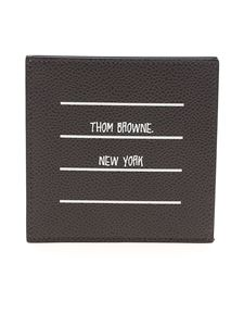 Thom Browne - Card holder in black hammered leather