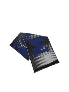 Missoni - Black and grey scarf with blue logo
