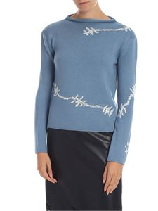 Ermanno Scervino - Blue pullover with rhinestones
