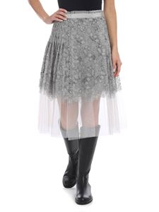 Ermanno Scervino - Pleated skirt in gray flowers lace