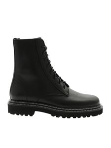 Vic Matiè - Black ankle boots with front lace-up closure