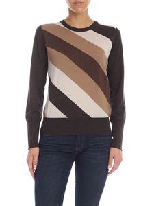 Lorena Antoniazzi - Brown pullover with diagonal striped pattern