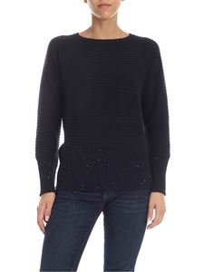 Lorena Antoniazzi - Blue cashmere pullover with micro sequins