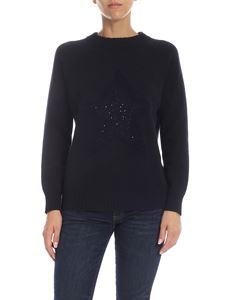 Lorena Antoniazzi - Dark blue pullover with micro sequins detail