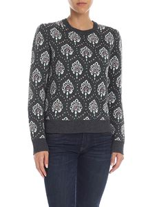 be Blumarine - Melange grey crewneck pullover with intarsia