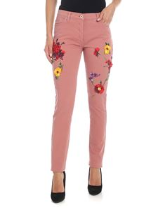 Blumarine - Antique pink jeans with floral embroidery