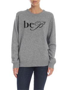 be Blumarine - Melange grey pullover with contrast logo intrarsia