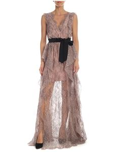 Blumarine - Antique pink and black lace dress with belt