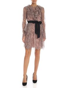 Blumarine - Antique pink and black lace dress with ruffles