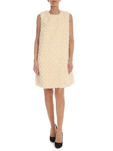be Blumarine - Sleeveless dress in cream-colored faux fur