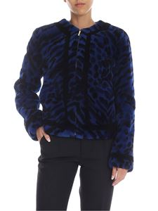 Blumarine - Black and electric blue fur with animalier pattern
