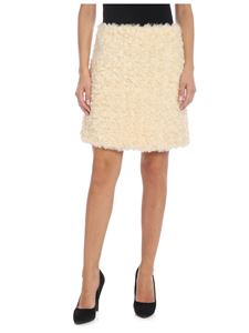 be Blumarine - Faux fur miniskirt in cream color