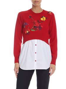 Blumarine - Red pullover with multicolor floral embroidery