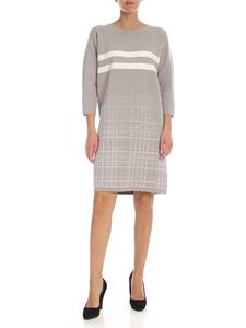 Lorena Antoniazzi - Dove grey dress with striped pattern and check