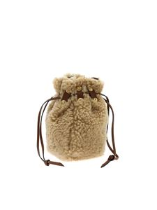 Marni - Bindle handbag in beige sheepskin