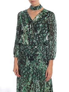 Alice + Olivia - Green blouse with reptile print