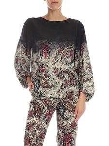 Etro - Black and ivory blouse with floral print