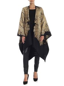 Etro - Black cape with golden paisley embroidery