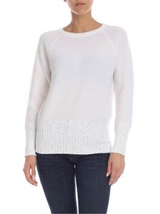 Lorena Antoniazzi - Cream cashmere pullover with micro sequins