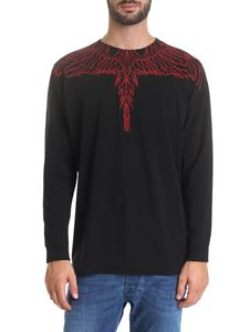 Marcelo Burlon - Black t-shirt with Red Wings