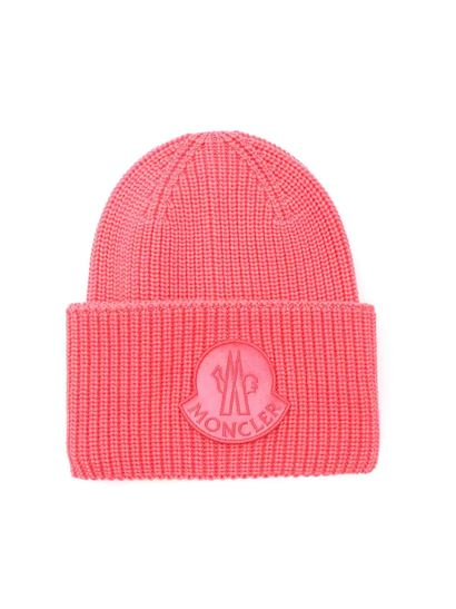 save up to 80% in stock more photos Pink beanie with Monlcer logo
