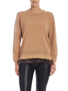 Ballantyne - Beige pullover with feathers on the bottom